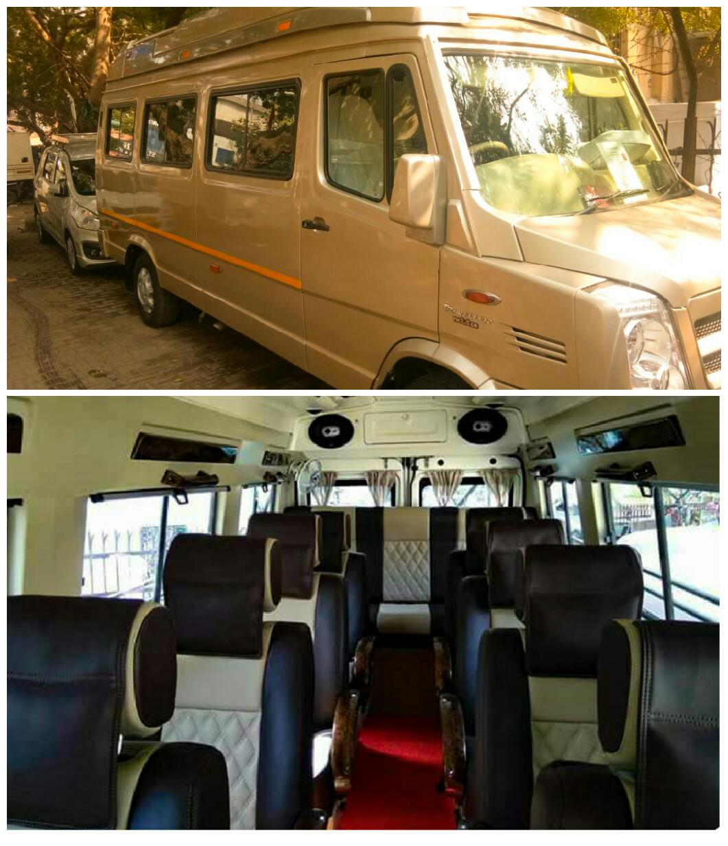 tempo traveller hire with sofa and bed